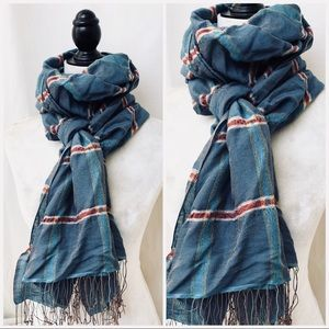 Accessories - Large Long Plaid Scarf with Fringe Detail